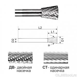 Коническая борфреза в форме обратного конуса тип N