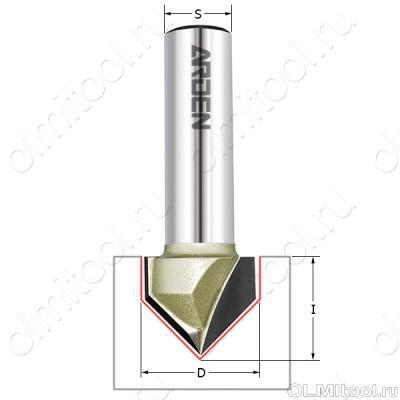 Фреза пазовая c углом 120гр. D=19,05x12x50 S=8 ARDEN 200841-1