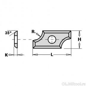 Нож твердосплавный радиусный R6,35 25x12x1.5